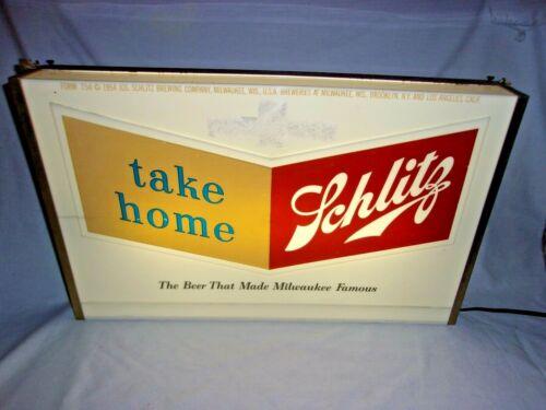 Schlitz Beer Lighted Bar Tavern Sign 1950