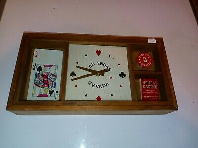 Vtg. Las Vegas Nevada Casino Wooden Clock /Chip / Matches / MANCAVE COLLECTABLE