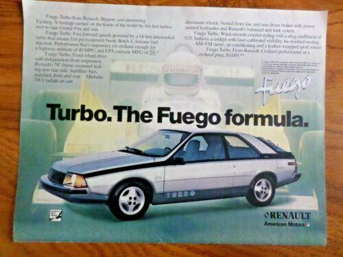 1983 Renault  Fuego Turbo AMC American Motors Ad