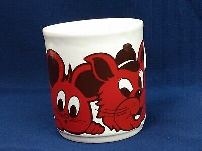 Cartwrights Table Tops Red Cartoon 2 Cats 1 Mouse Mug Coffee Tea Ceramic England