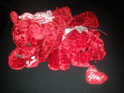 "Lot of 2  Valentine Love You His Hers Teddy Bear Plush Stuff Animals 16"""