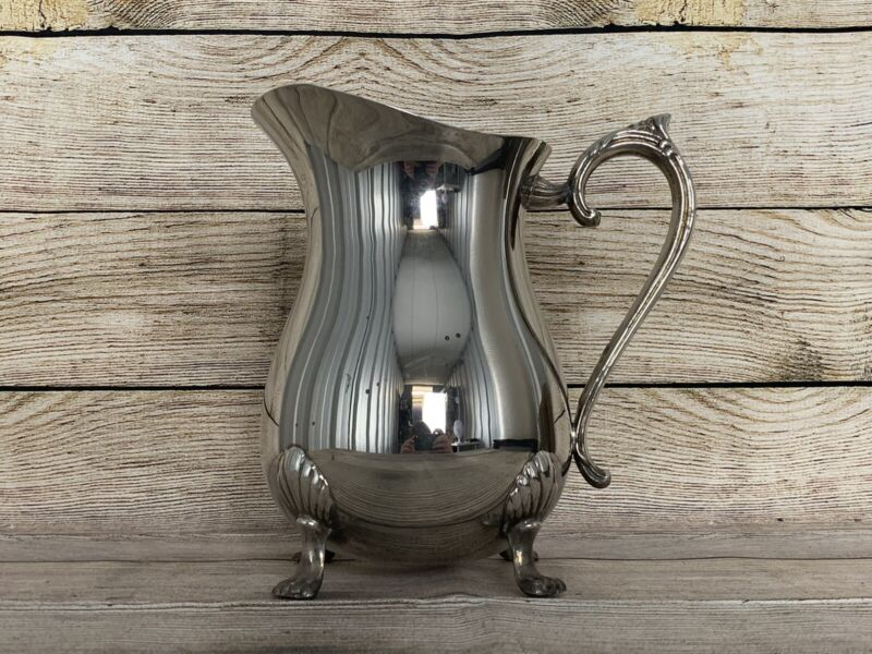 Vintage Leonard Silver Plated Footed Water Pitcher With Ice Catcher Spout