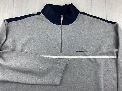 NAUTICA COMPETITION Mens Grey Blue 1/4 Zip Sweatshirt 4XLT XXXXLT Tall A+ Clean