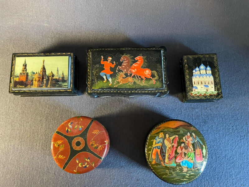 Lot of 5 Vintage Lacquer Russian Box/Boxes – People, Cathedral, Horses + More