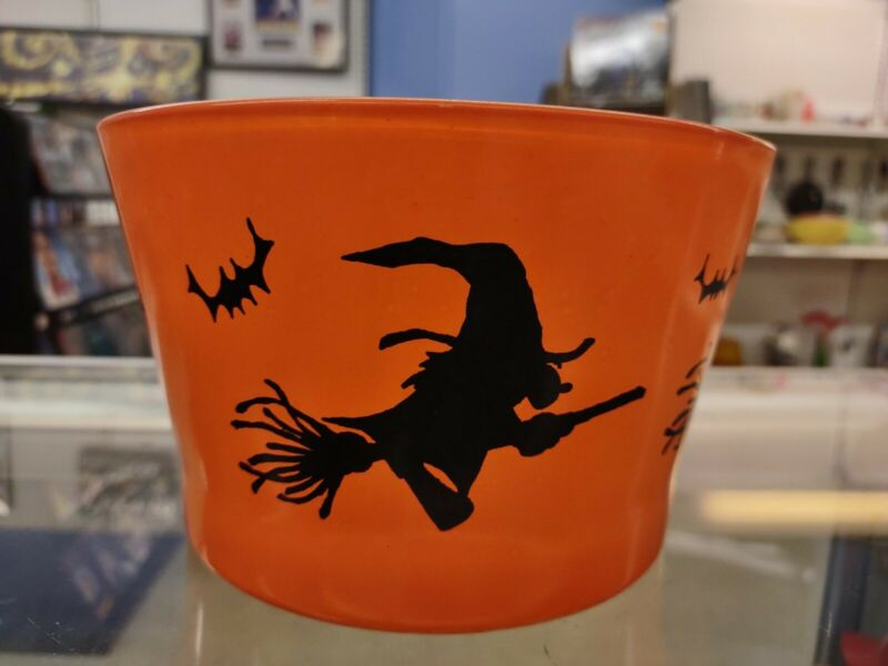 Vintage Hazel Atlas Halloween Witches And Bats Glass Ice Bucket Bowl