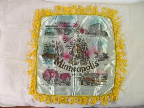 VTG Satin Souvenir Of Minneapolis Mn Pillow Case/Cover Featuring Landmarks
