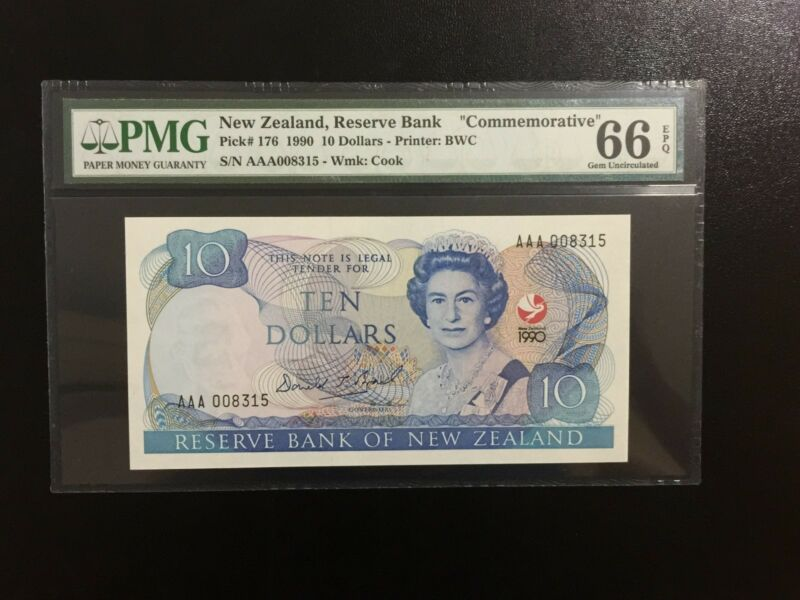 "1990 New Zealand,Reserve Bank, QE II $10 P-176 ""COMMEMORATIVE"" PMG 66 EPQ"