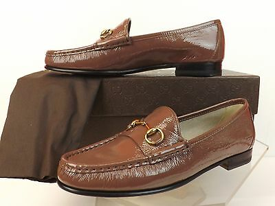 NIB GUCCI OLD MAUVE 1953 PATENT TEXTURE LEATHER GOLD HORSEBIT LOAFERS 36.5 6.5