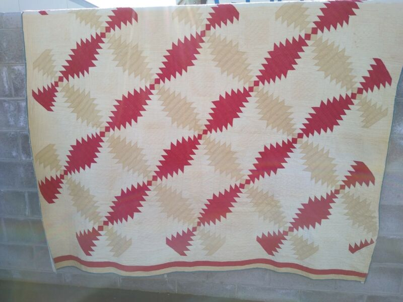 "Antique Hawaii Applique Quilt 2 Color Double Pineapple 84""x68"" G Cond Red Brown"