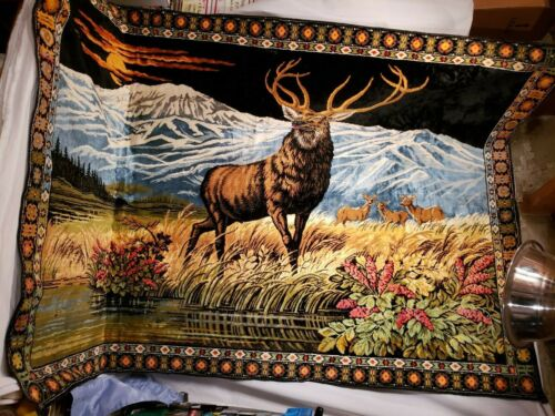 """Large Vintage Cloth Deer/ Buck Tapestry, Mountain Scenery, 71"""" x 49"""",Cabin Decor"""
