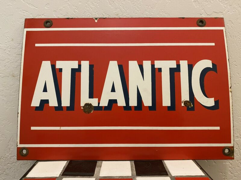 "Vintage ATLANTIC PORCELAIN SIGN 13""x9"""