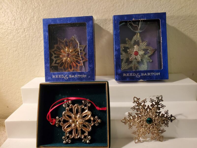 Lot of 4 Reed & Barton Snowflake Christmas ornaments