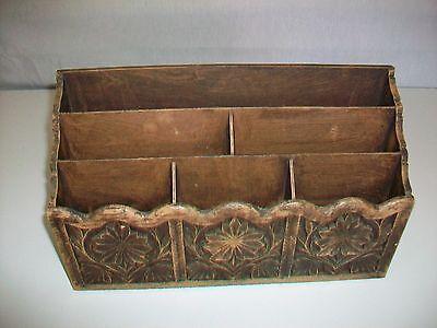 Vintage Lerner Desktop Desk Top Organizer Letter File Woodgrain Look