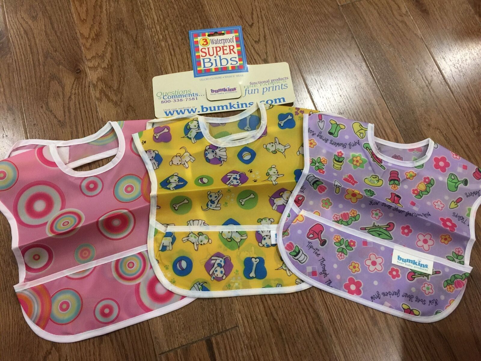 NEW Bumkins 3 Pack Waterproof SuperBibs Girl Boy Pink Puppy