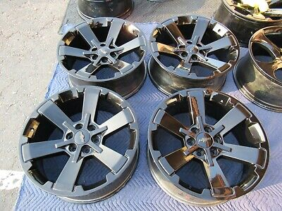 "(4) CHEVROLET SILVERADO 1500 OEM FACTORY 22"" WHEELS RIMS GLOSS BLACK 6X5.5 NICE"