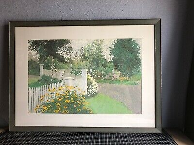 Painting Picket Fence - Original Pastel Landscape Painting Unsigned Framed 33x24 Sunflowers Picket Fence