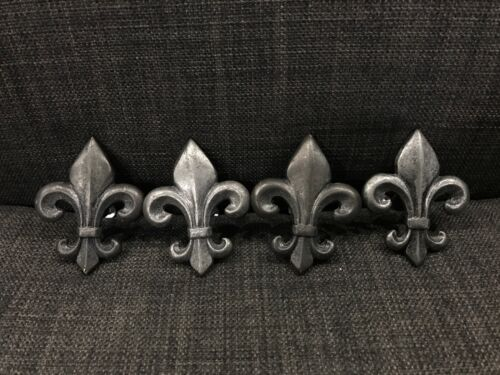 Fleur De Lis Pewter Drawer Knob Pulls Hardware Set of 4