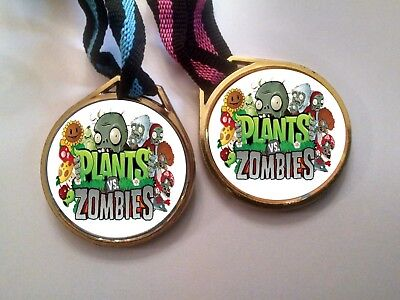 12 PLANTS VS ZOMBIES MEDALS NECKLACES, birthday party favors - Plants Vs Zombies Party Supplies