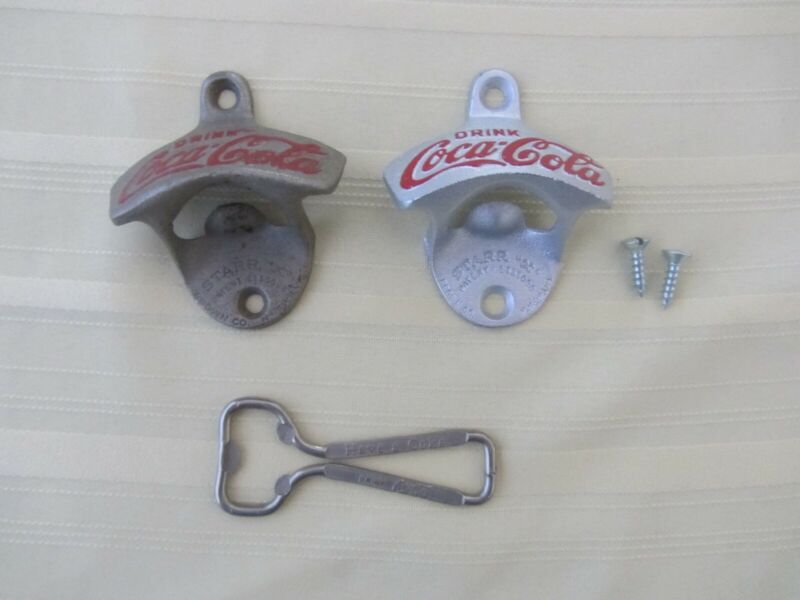 Vintage Coca-Cola Starr X Bottle Openers - 3 items / 2 wall mounts 1 handheld