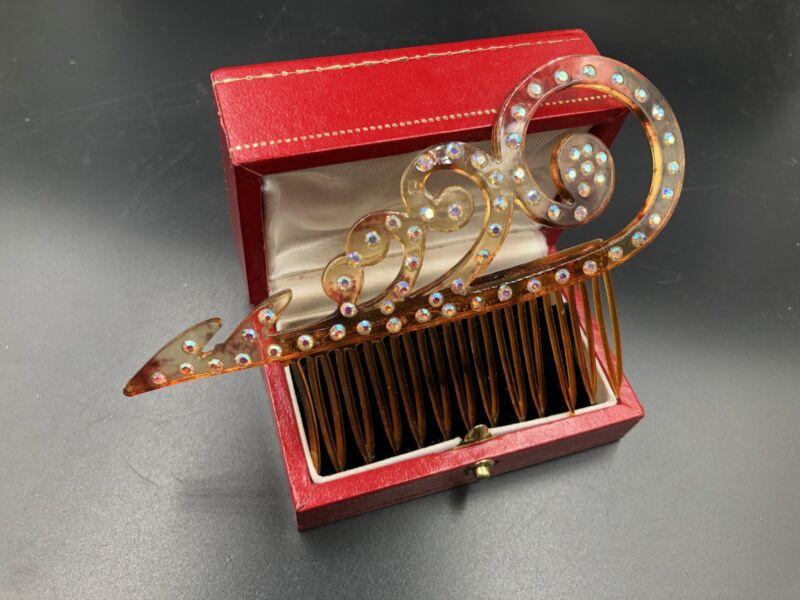 Antique Vintage Hair Comb Accessory Celluloid With Rhinestones Art Nouveau