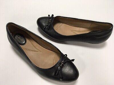 Women's Clarks Artisan Comfort Black Leather Slip On Ballet Flats Shoes 7.5M