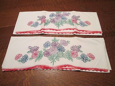 (M) New Vintage Hand Embroidered & Crocheted Pillowcases, 29 x 21