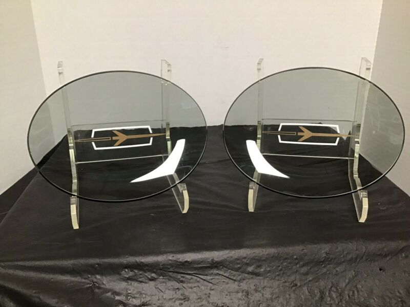 Vintage 2 RARE OLDSMOBILE COLLECTIBLE SMOKE GLASS DESK TRAY KEY CANDY DISH