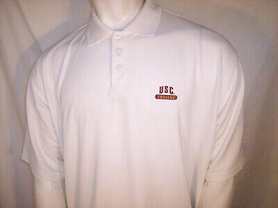 Under Armour XL/XXL White Poly/Elastane Polo Golf Shirt USC Trojans Logo for sale  Shipping to Nigeria