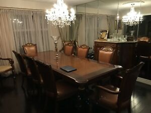 Beautiful large solid wood dining set Table/chairs/marble hutch