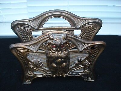 Antique Art Nouveau JUDD Bronze Owl Letter Napkin Holder Cast Metal Bronze #6643