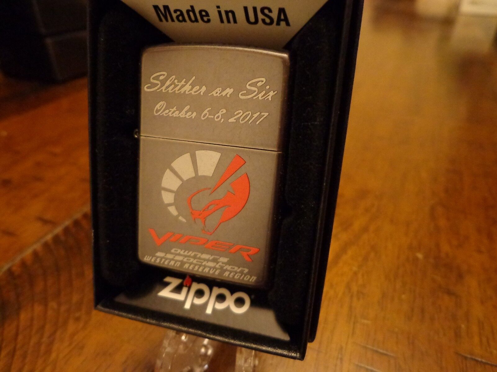 DODGE VIPER SLITHER ON SIX ZIPPO LIGHTER MINT IN BOX 2017