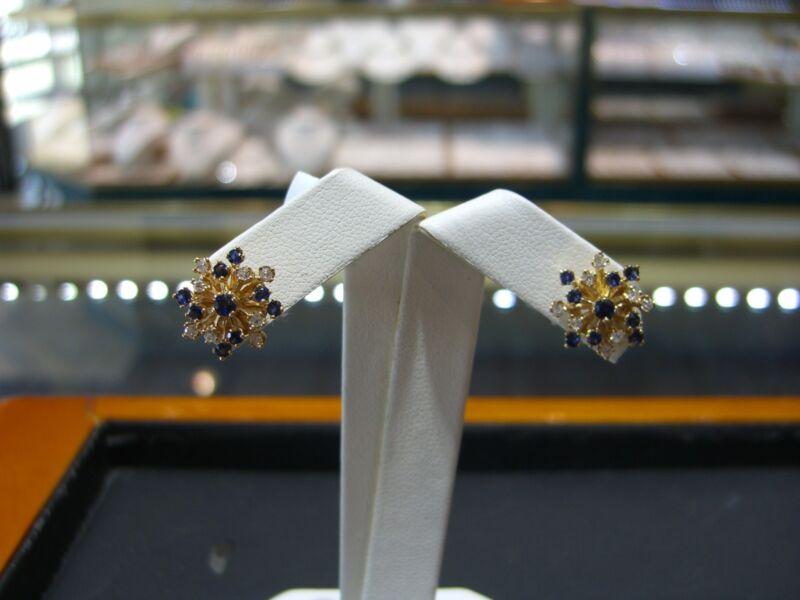 Fine Womens 14 Karat Yellow Gold Diamond And Ceylon Sapphire Earrings New Wow!!