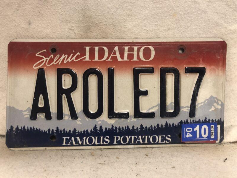 "2004 Idaho Vanity License Plate ""AROLED7"""