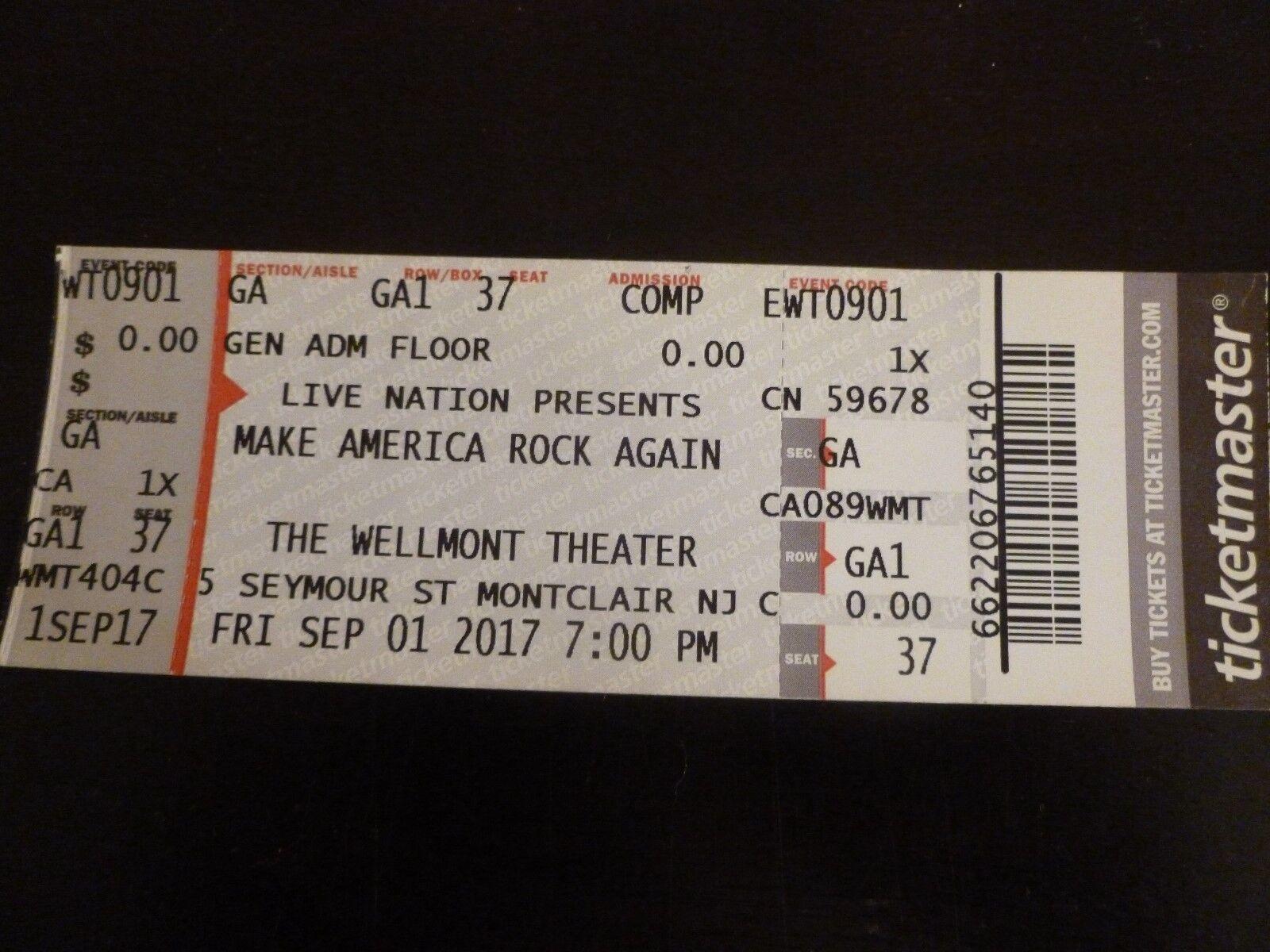 Make America Rock Again Scott Stapp 2017 Concert Ticket Stub Wellmont NJ