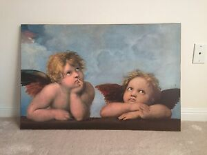 Michelangelo Wood Laminate Print Angels - Wall Art