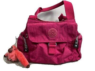 Kipling Bag Tote Pink Many Compartments Handbag Monkey Keychain