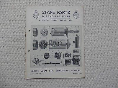 WOLSELEY VIPER 1932 LUCAS Parts List published January 1933