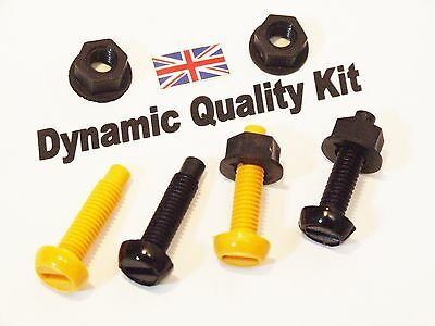 REAR NUMBER PLATE FITTING 2 YELLOW 2  BLACK NYLON PLASTIC BOLTS & NUTS,  SCREWS