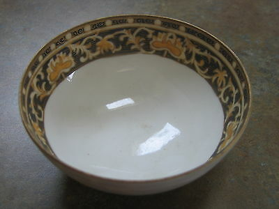 Vintage Hand Painted NIPPON Footed BOWL Blue Gold pattern
