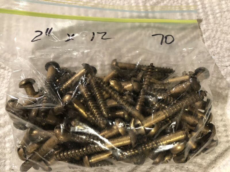 "Vintage Brass Round Head Wood Screws 2"" by #12 Qty 70 Bag"