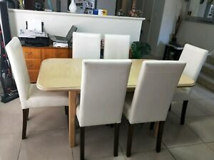 DINING TABLE ( EXTENDABLE) CREAM IN COLOUR AND 6 WHITE LEATHER C