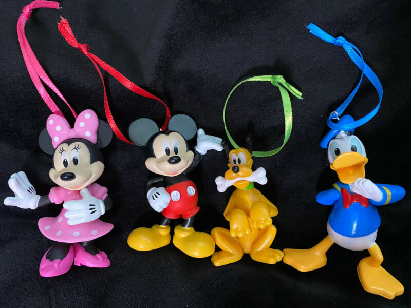 Disney Mickey Mouse, Minnie Mouse, Donald Duck, And Pluto Christmas Ornament Set