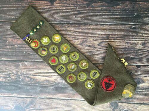 Boyscout Vintage Merit Badges Pins Sash 18 Boy Scout Badges 1950s?