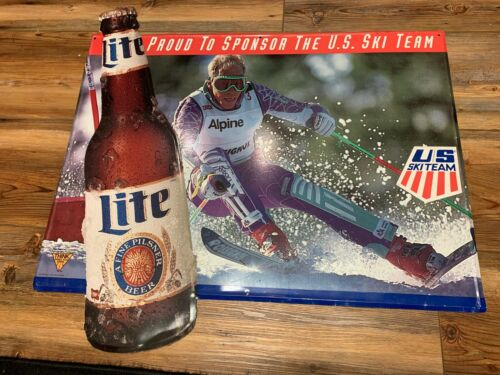 "Miller Lite Proud To Sponsor The U. S. Ski Team Sign Size: 30"" x 29"""