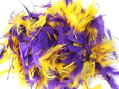 Purple & Gold Feather Boa Masquerade Fashion Glamour Party High Society](Gold Feather Boas)