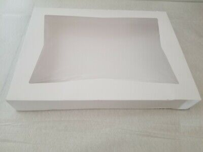Bakery Box Donut 16 X 12 X 2.25 White Paperboard With A Window - Pack Of 12