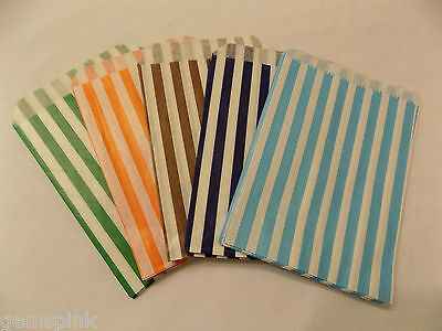 25 Candy Stripe Paper Sweet  Gift Shop Wedding  Party Bags mixed colours 5 x 7