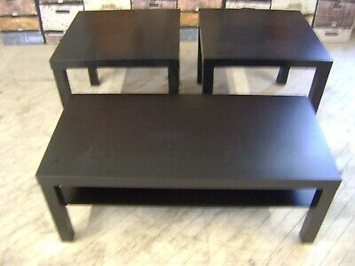Black Wood Coffee Table End Tables Office Home Decor Furniture Set 3