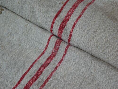 Antique European Feed Sack GRAIN SACK Red Stripes # 9472
