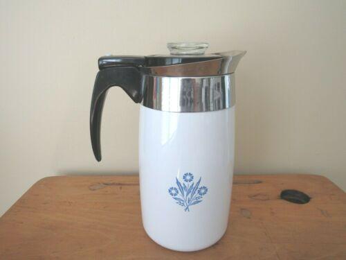 Vintage Corning Ware Cornflower 10 Cup Electric Percolator Coffee Pot No Cord